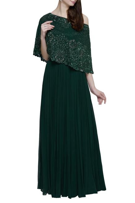 Embroidered cape with skirt