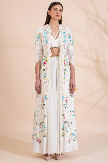 Embroidered Jacket, top & Pant Set