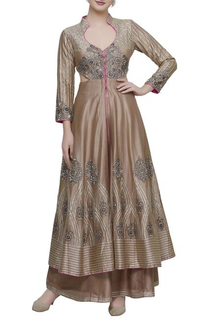 Chanderi Jacket Style Anarkali Palazzo Set