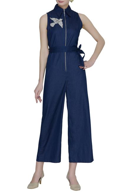 Embroidered Shirt Jumpsuit
