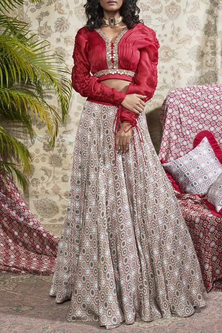 Embroidered Blouse With printed Lehenga set