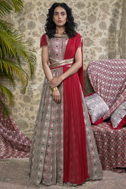 Printed Anarkali with attached dupatta