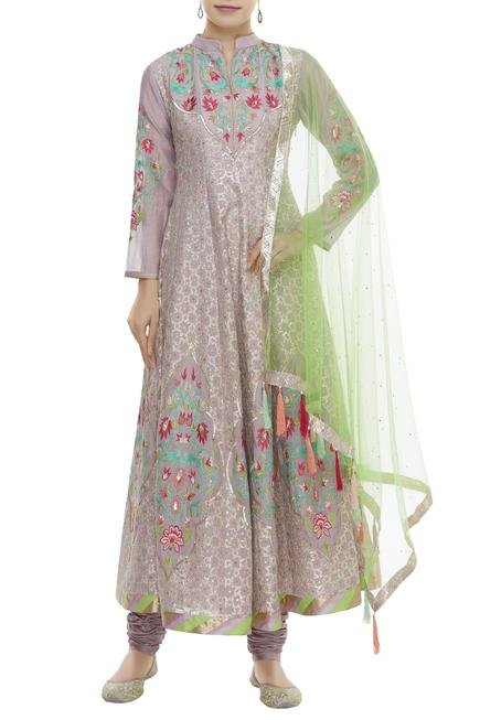 Silk Chanderi Embroidered Kurta Set