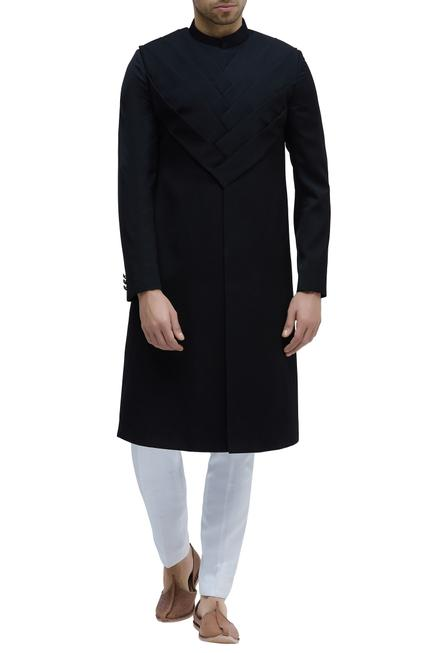 Pleated Sherwani With Trouser