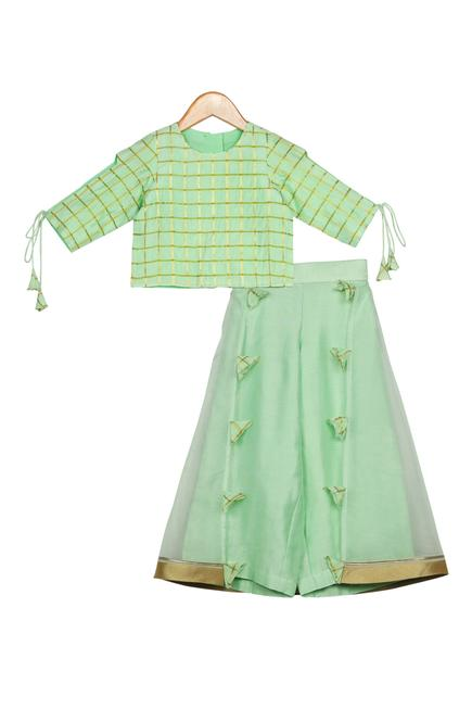 Woven Blouse With Palazzo Pants
