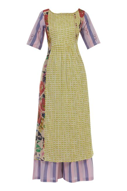 Printed paneled kurta with palazzo