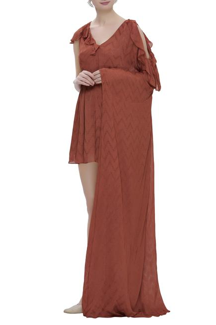 Textured Dress With Attached Drape