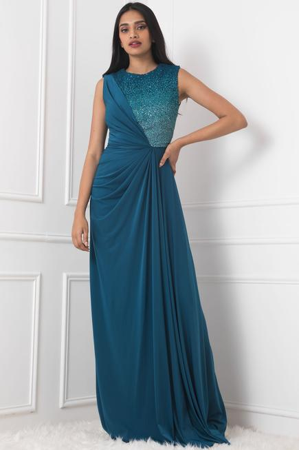 Draped Embellished Gown