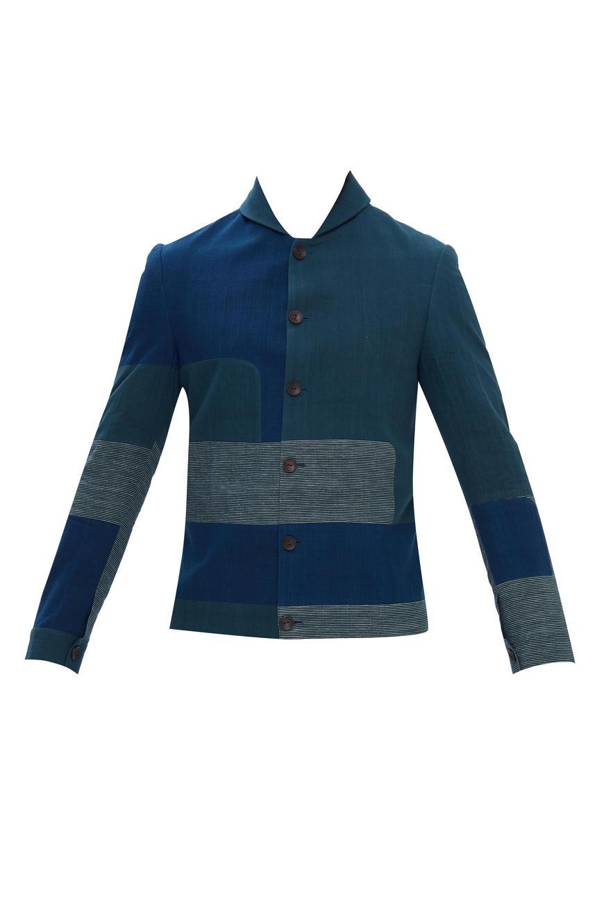 Handloom cotton Color Block Jacket