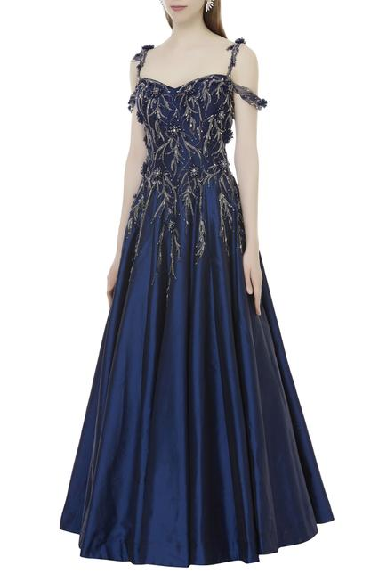 Embroidered Cold Shoulder Gown