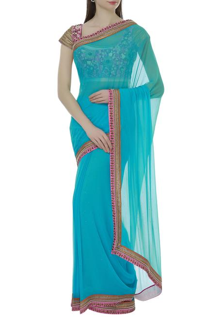 Hand embroidered saree set with jacket