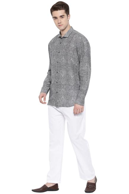 Linen Printed Slim Fit Shirt