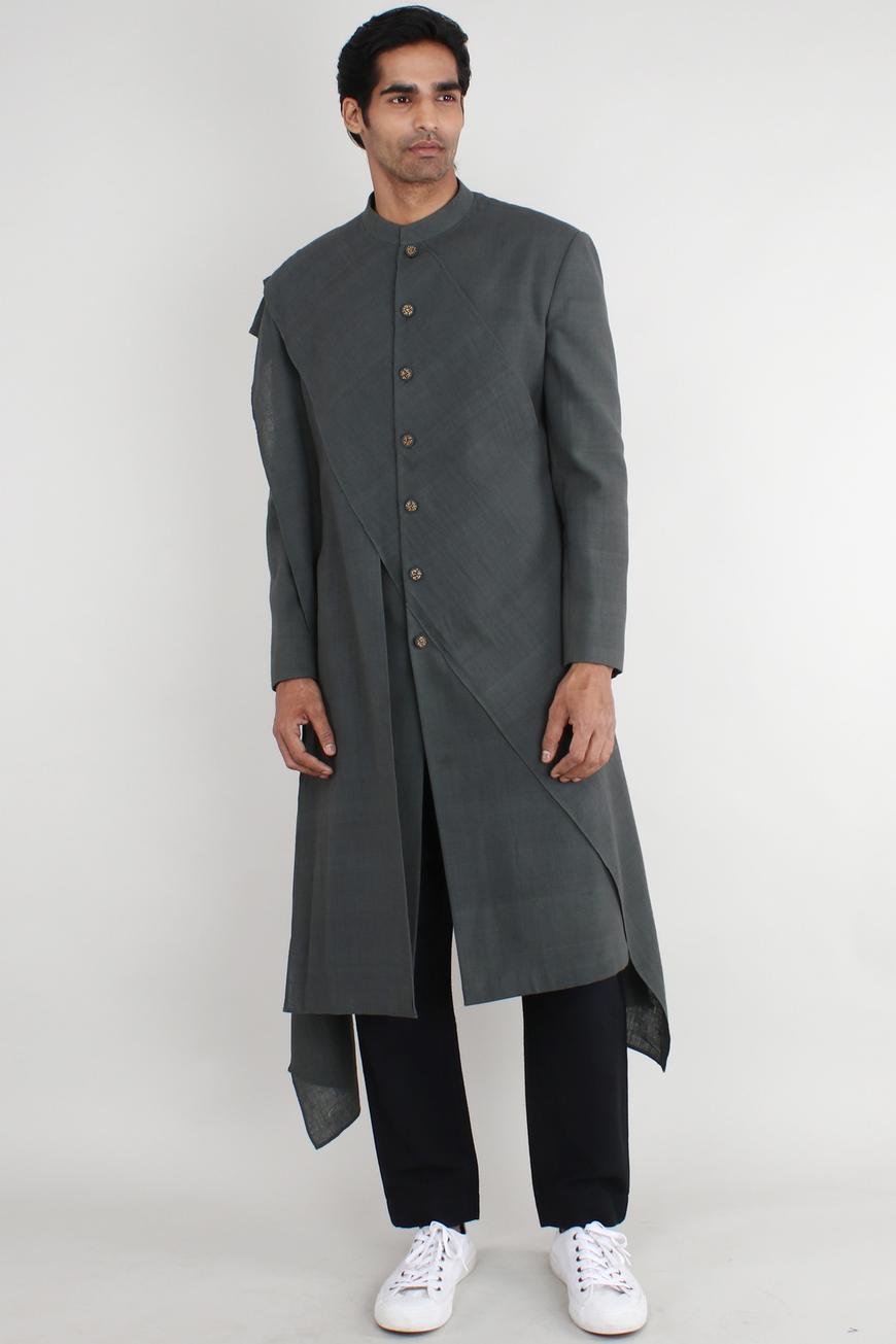 Handwoven cotton asymmetric jacket