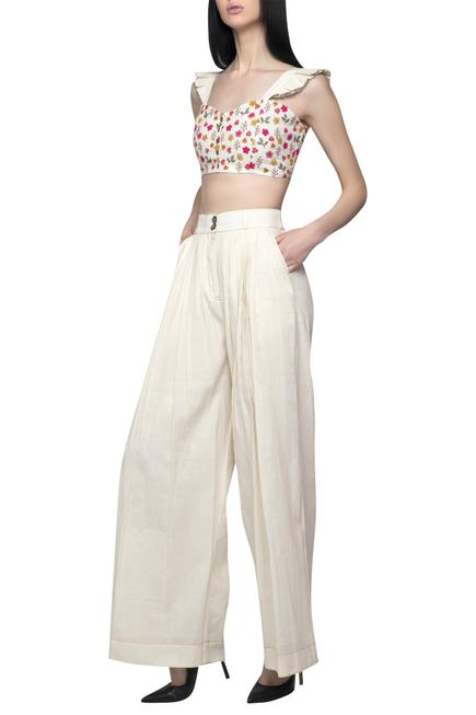 Embroidered Crop Top Pant Set