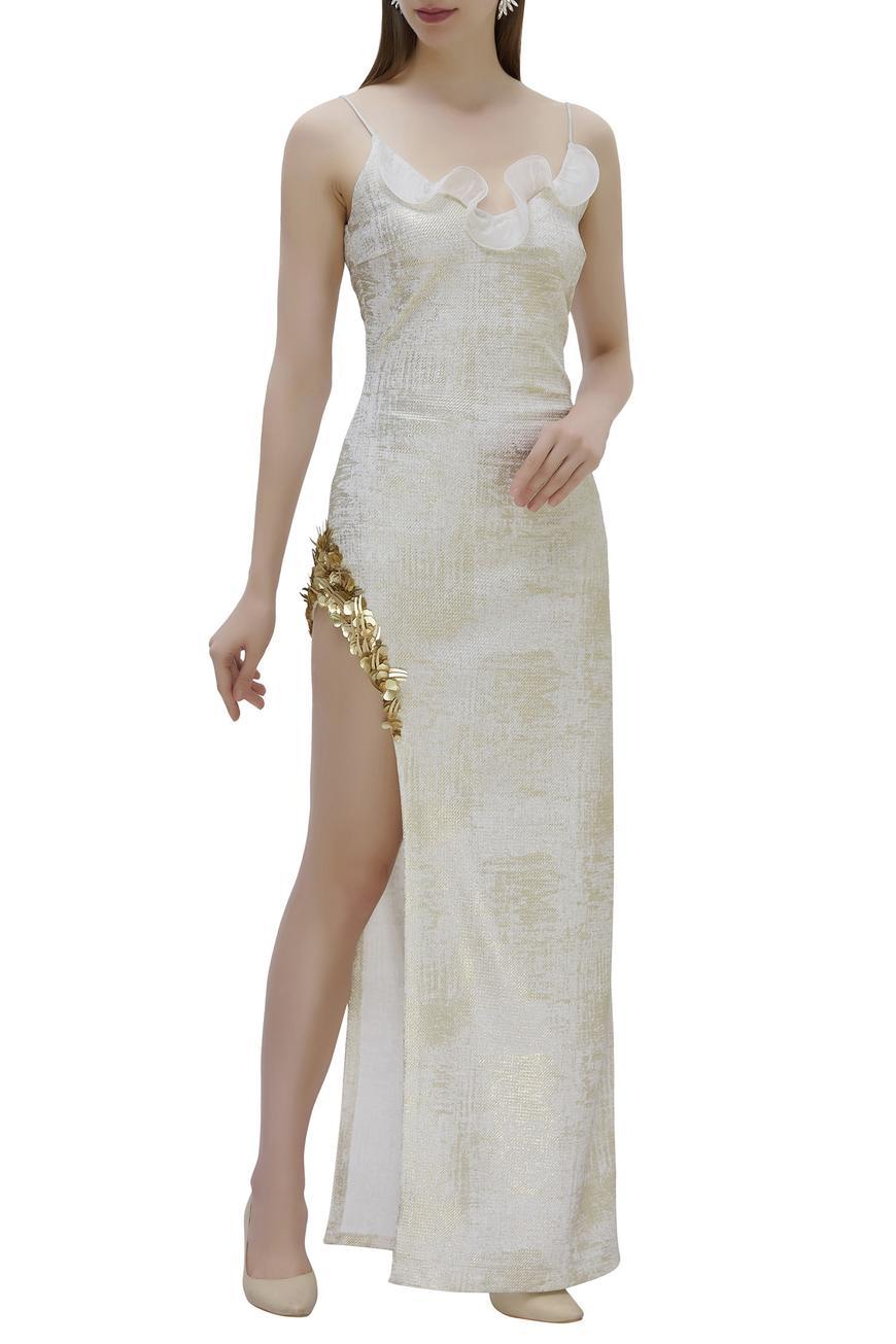 Foil Print Slit Gown
