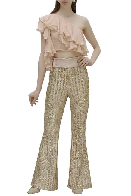 Ruffle Top with Flared Pants