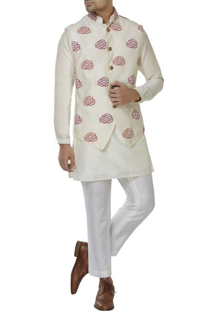 Embroidered nehru jacket & kurta set