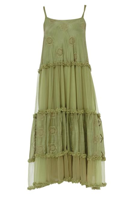 Silk Embroidered tiered dress