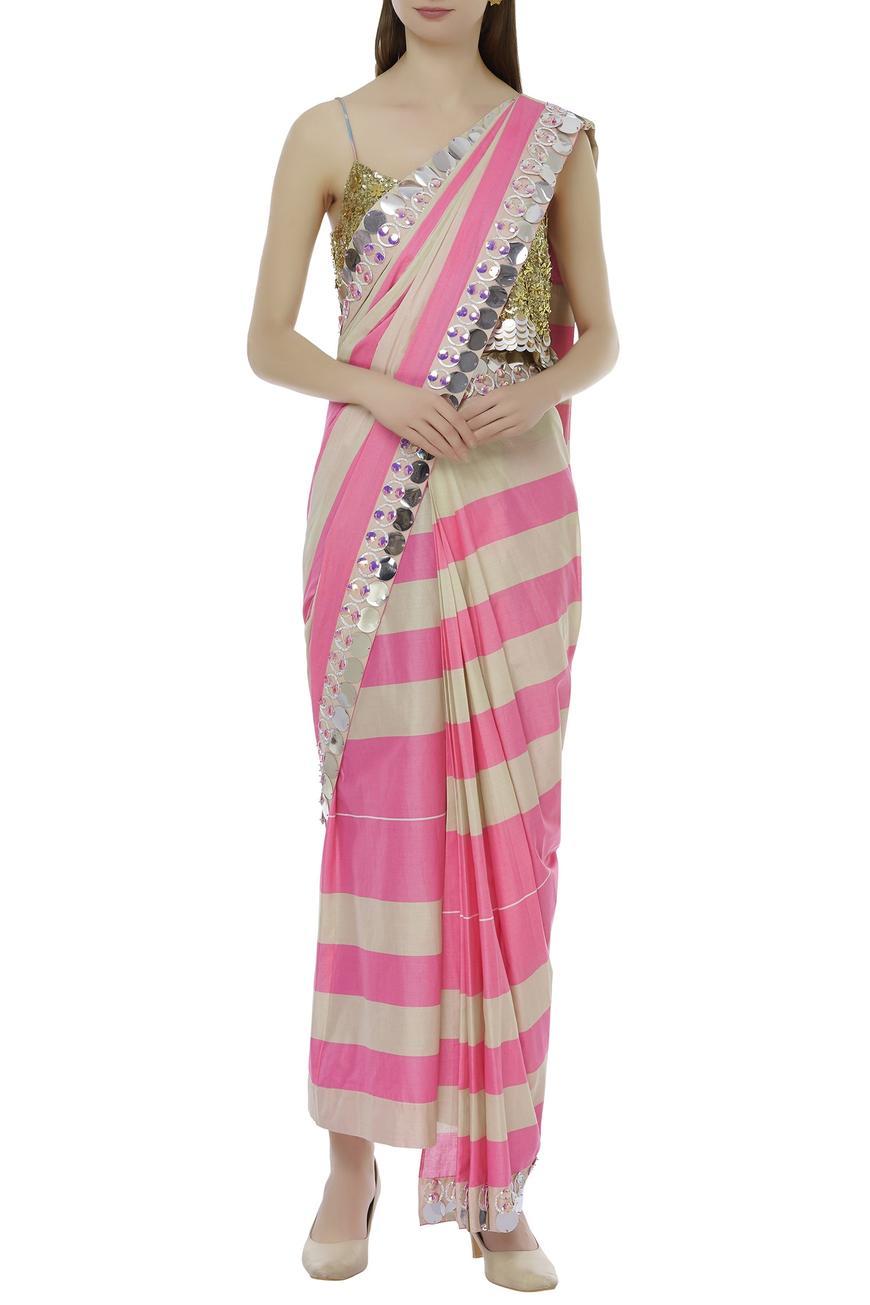 Embroidered pant saree set