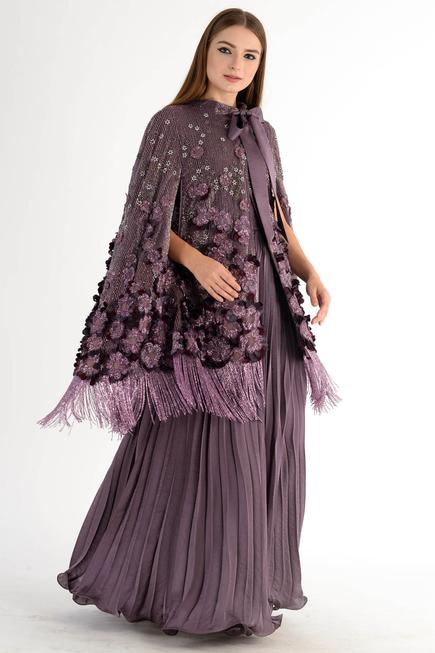 Embroidered Fringe Cape