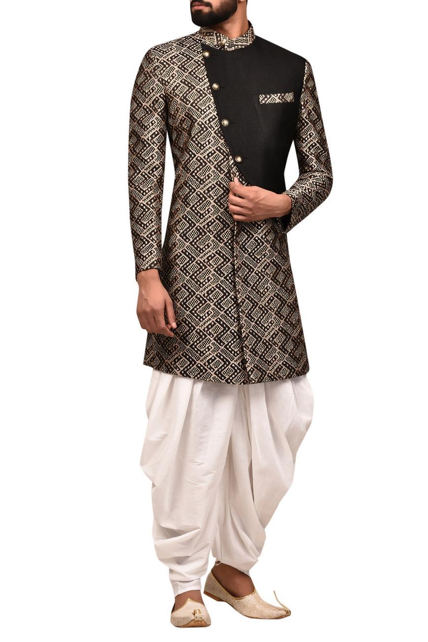 Silk Jacquard Sherwani With Draped Pants