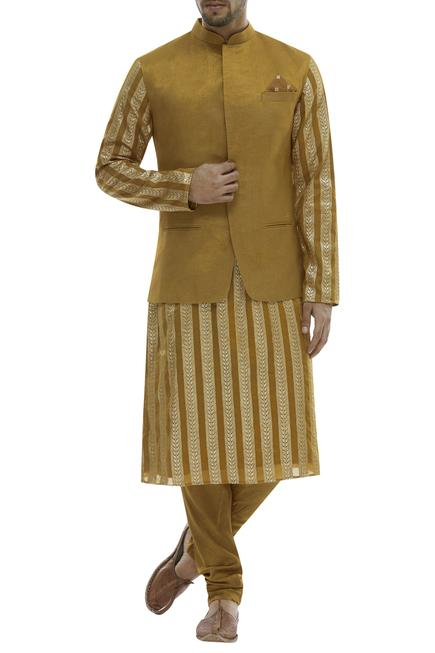 Chanderi Kurta & Nehru Jacket Set