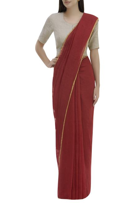 Linen Saree With Running Blouse.