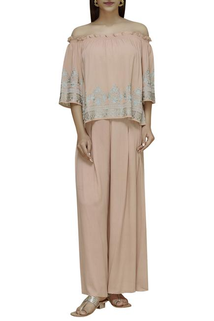 Embroidered Top Palazzo Set