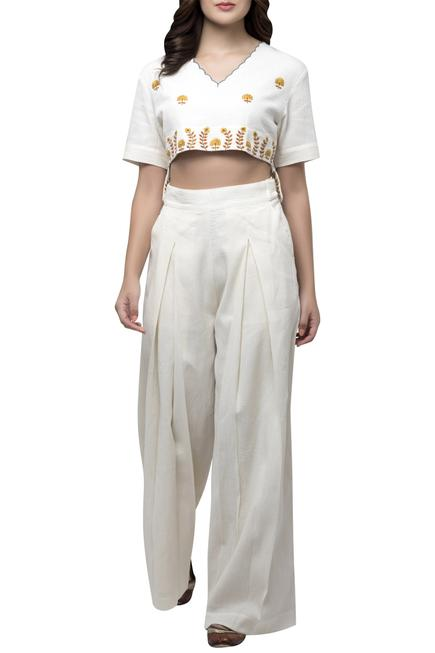 Embroidered Top Pant Set