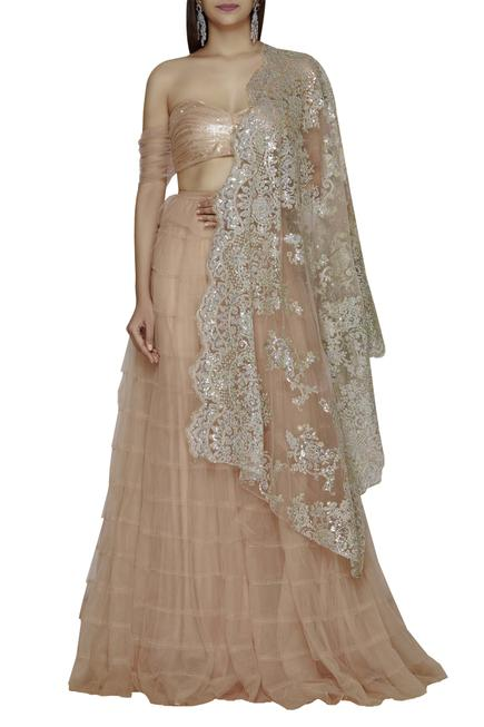Embroidered Blouse Lehenga Set