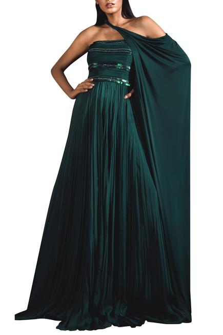 Embellished Gown with Cape