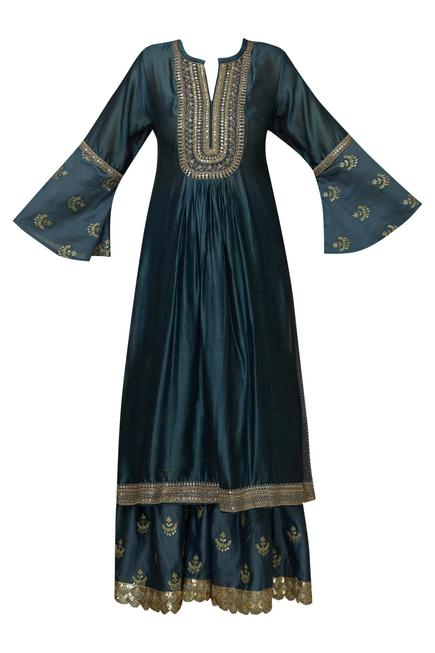 Silk Embroidered Kurta Sharara Set