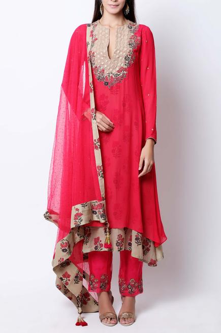 Embroidered Asymmetrical Anarkali Set