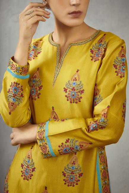 Chanderi Floral Kurta Set