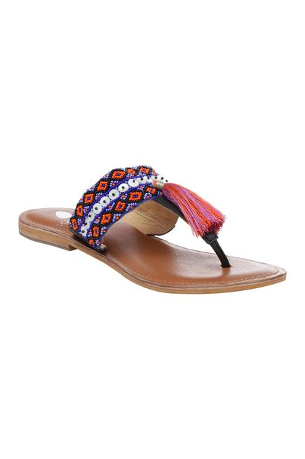 Embroidered T-Strap Flat Sandals