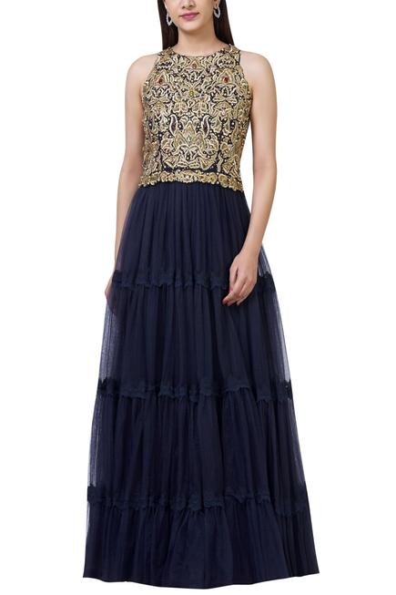 Embellished Tiered Gown