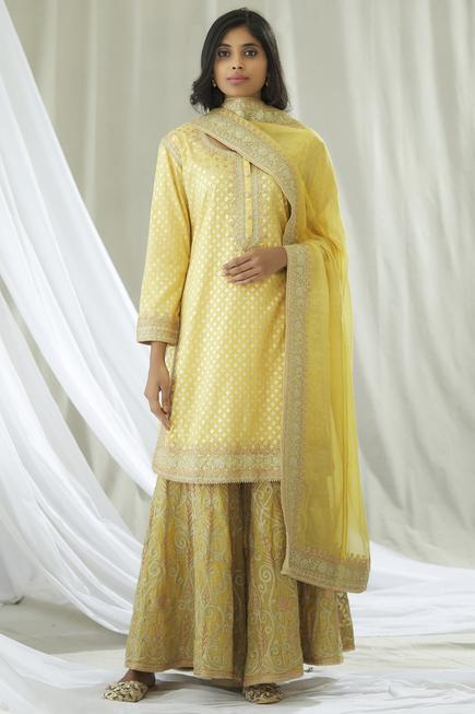 Banarasi Chanderi Kurta Sharara Set