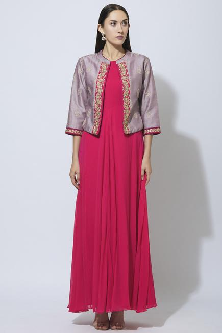 Maxi Dress with Embroidered Jacket