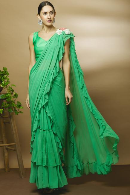 Chanderi Pre-Draped Ruffle Saree with Blouse