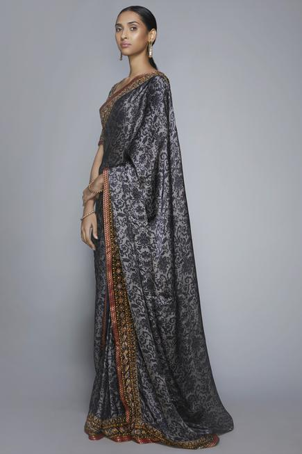 Silk Satin Printed Saree with Unstitched Blouse