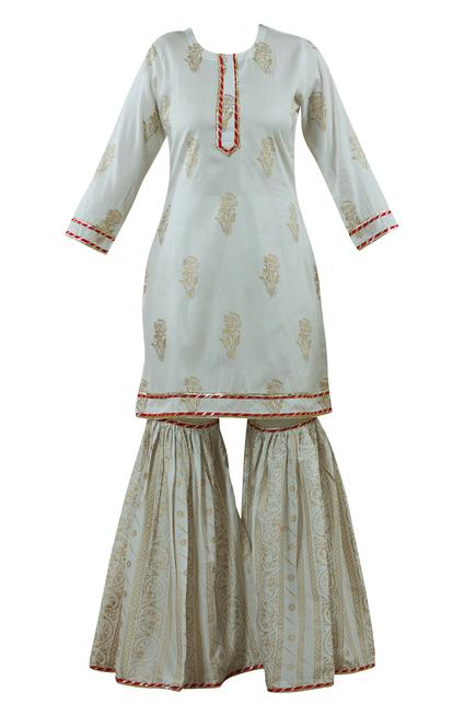Silk Hand Block Print Kurta Set