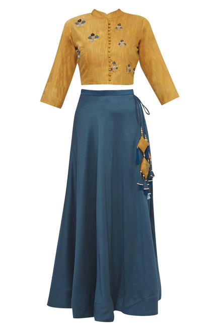 Silk Embroidered Skirt Set