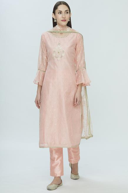 Chanderi Straight Kurta Set
