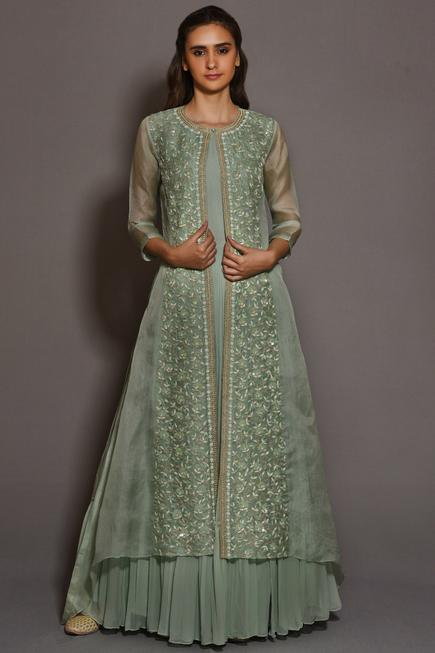 Pleated Anarkali with Jacket