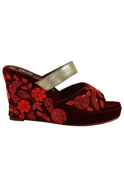 Velvet Embroidered Wedges