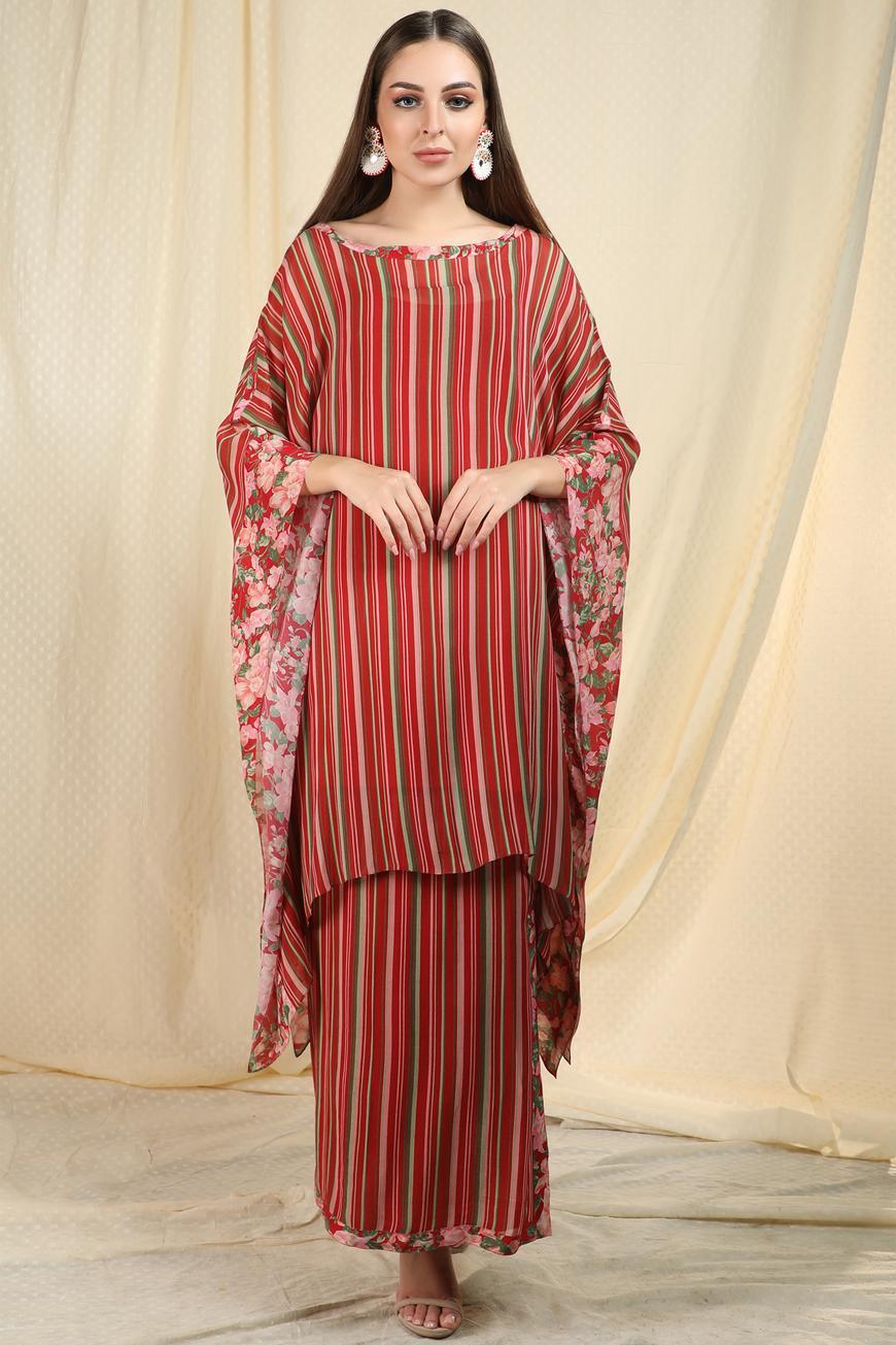 Striped Kaftan Skirt Set