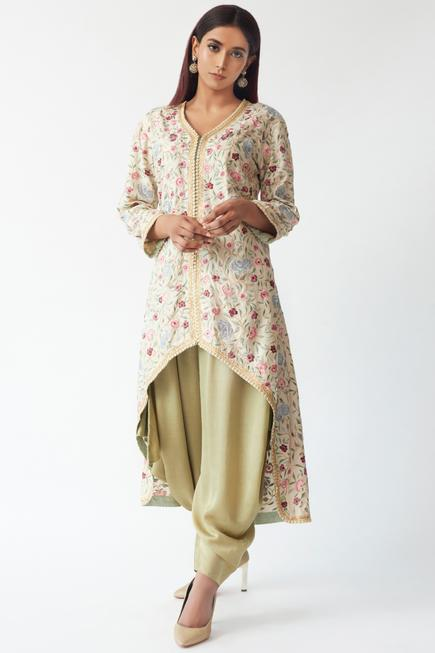 Embroidered Kurta Dhoti Pant Set