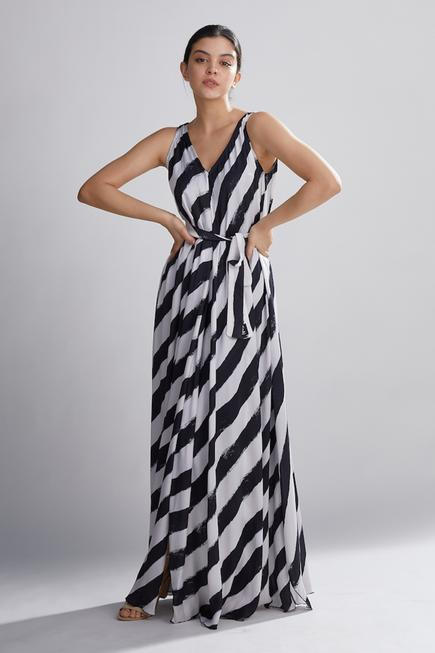 Silk Striped Maxi Dress