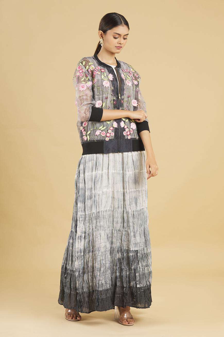 Shibori Dress with Embroidered Jacket