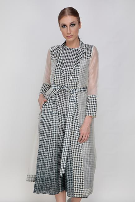 Printed Jumpsuit with Organza Jacket